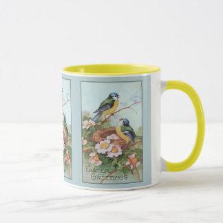 Vintage blaue Vögel Ostern Tasse