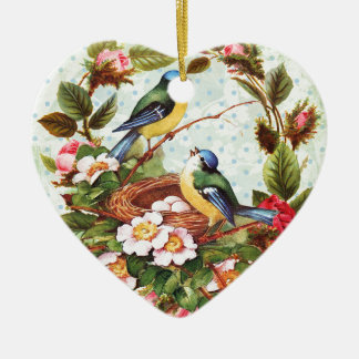 Vintage blaue Vögel und Blumen Keramik Ornament