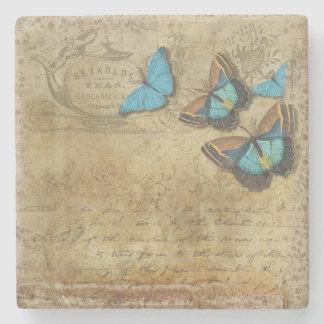 Vintage Blick-Schmetterlinge Steinuntersetzer