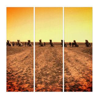 Vintage Blick-Triptychon-Kunst von Cadillac-Ranch Triptychon