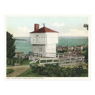 Vintage Block-Haus Mackinac Insel Michigan Postkarte