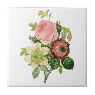 Vintage Blumen Anemonen-RosenClematis durch Redou Keramikkacheln