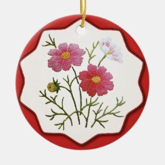 Vintage Blumen auf Gingham Keramik Ornament