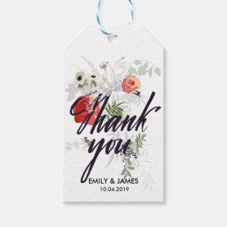 Vintage Blumen danken Ihnen Geschenkanhänger