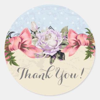 Vintage Blumen danken Ihnen Runder Aufkleber