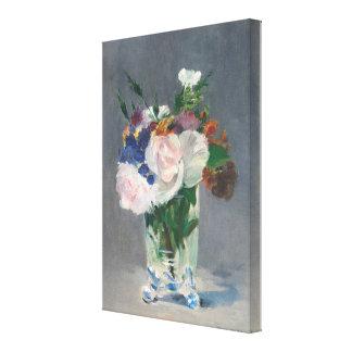 Vintage Blumen in einem Kristallvase durch Edouard Leinwanddruck