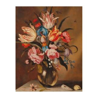 Vintage Blumen in einer hölzernen Leinwand des Holzdrucke