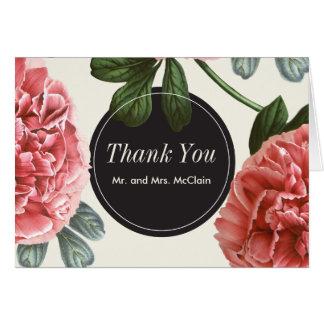 Vintage Blumen| rosa Schwarze u. Weiß dankt Ihnen Karte
