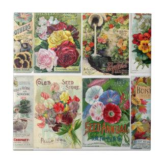 Vintage Blumen-Samen-Katalog-Collage Kleine Quadratische Fliese