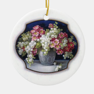 Vintage Blumen-Vasen-Verzierung Rundes Keramik Ornament