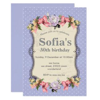Vintage Blumeneinladungskarte, Frauen-Party 12,7 X 17,8 Cm Einladungskarte