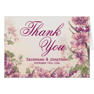 Vintage Blumengarten-Hochzeit danken Ihnen Karten