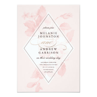 Vintage BlumenImitatfolien-Hochzeitseinladung Karte