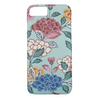 Vintage Blumenmuster-asiatische Kunst blauer iPhone 8/7 Hülle