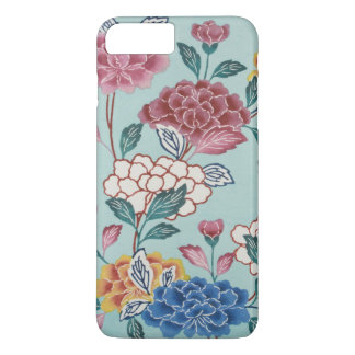 Vintage Blumenmuster-asiatische Kunst blauer iPhone 8 Plus/7 Plus Hülle