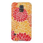 Vintage Blumenmuster-orange Rot-Dahlie-Blumen Samsung Galaxy S5 Cover