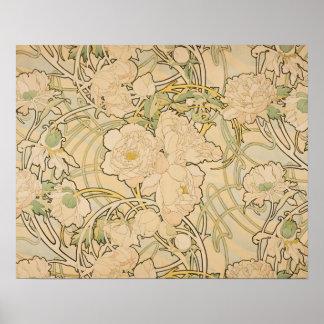 Vintage Blumenpfingstrosen GalleryHD alphonse Poster