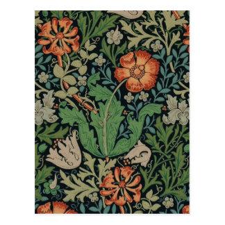 Vintage Blumentapete Trendy Morris Compton Postkarte