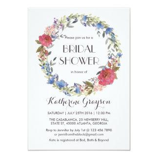 Vintage Blumenwreath-Frühlings-Hochzeits-Einladung 12,7 X 17,8 Cm Einladungskarte