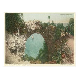 Vintage Bogen-Felsen Mackinac Insel Michigan Postkarte