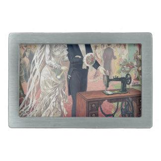 Vintage Braut-und Bräutigam-Illustration Rechteckige Gürtelschnallen