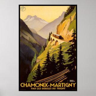 Vintage Chamonix-Martigny Reise Poster