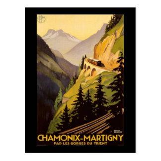 Vintage Chamonix-Martigny Reise Postkarte