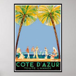 Vintage Cote d'Azur Reise Poster