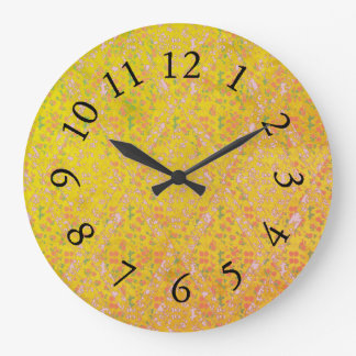 Vintage-Country-Cotton_Yellow_Floral Große Wanduhr