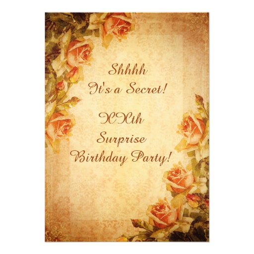 Vintage Damast-Shabby Personalisierte Einladungen
