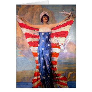 Vintage Dame der Freiheits-patriotischen Grußkarte