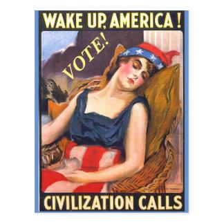 Vintage Dame Liberty Image auf politischen Postkarte