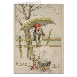 Vintage Dänische Glaedelig Jul Weihnachtskarte Grußkarte