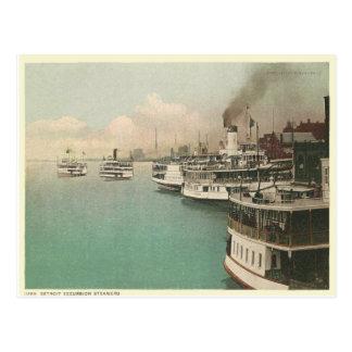 Vintage Detroit-Dampfer Postkarte