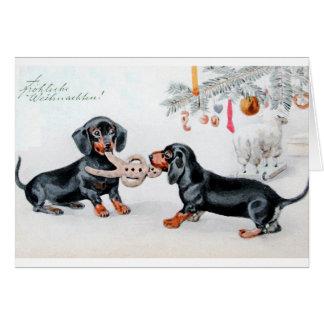 Vintage deutsche Dackel-Weihnachtskarte Grußkarte