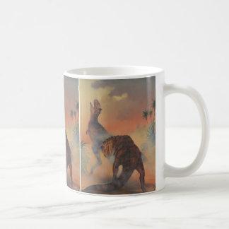 Vintage Dinosaurier, Carnotaurus, der im Dschungel Kaffeetasse