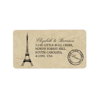 Vintage Eiffel-Turm-Paris-Poststempel-Hochzeit Adress Aufkleber
