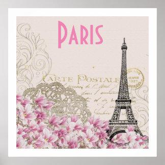Vintage Eiffel Turmkarte PARIS | Poster