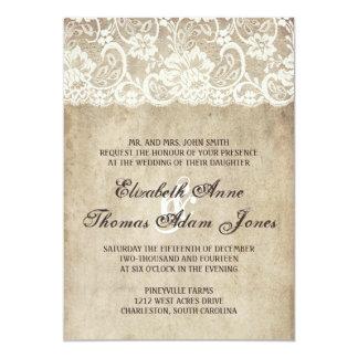 Vintage Eleganz-Spitze-Hochzeits-Einladung 12,7 X 17,8 Cm Einladungskarte