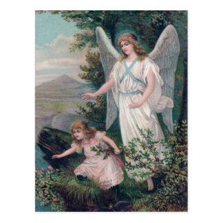 Vintage Engel mit Mädchen am Abgrund Postkarte