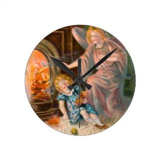 Vintage Engel Schutzengel Mädchen und Feuer Runde Wanduhr
