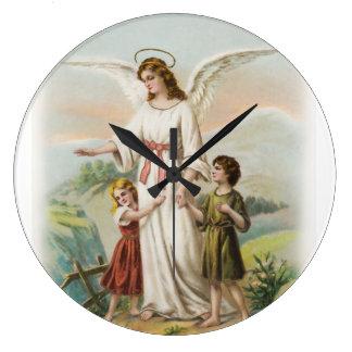 Vintage Engel Schutzengel und zwei Kinder Große Wanduhr