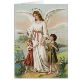 Vintage Engel Schutzengel und zwei Kinder Grußkarte