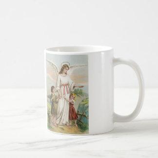 Vintage Engel Schutzengel und zwei Kinder Tasse
