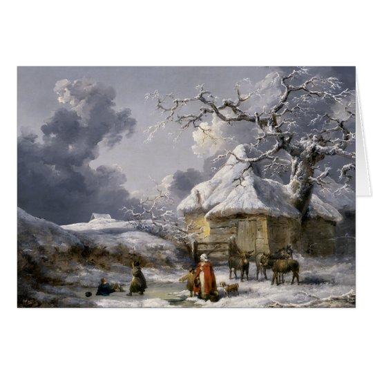 Vintage englische Winter-Weihnachtsszene Grußkarte