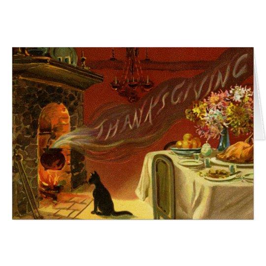 Vintage Erntedank-Abendessen-Gruß-Karte Grußkarte