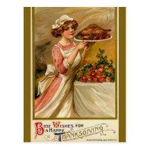 Vintage Erntedank-Postkarte