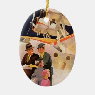 Vintage Familien-Ferien über Propeller des Ovales Keramik Ornament