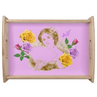 Vintage Fan-Dame und Blumen-großes Serviertablett