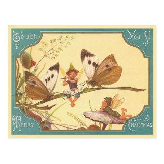 """""""Vintage Fee-Weihnachtskarten-"""" Postkarte"""
